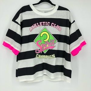 Vintage 80's Neon Striped Black White Shirt